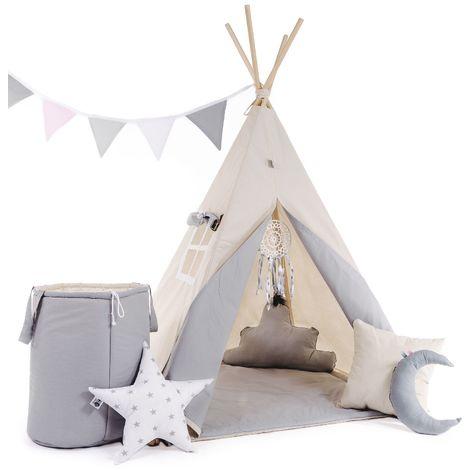 WILLY - Tente de jeu Tipi enfant - H 160 cm - Tente cabane intérieur extérieur fille garçon - 8 poteaux inclus - Beige