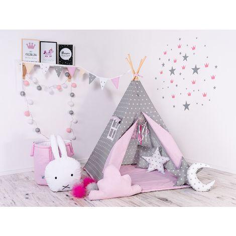 WILLY - Tipi Tente de jeu intérieur/extérieur enfant - H 160 cm - Tente cabane - 8 poteaux de pin naturel inclus - Gris