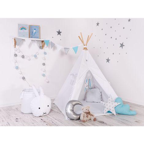 WILLY - Tipi Tente de jeu intérieur extérieur enfants - Hauteur 160 cm - Avec 8 poteaux de pin naturel et une fenêtre - Blanc