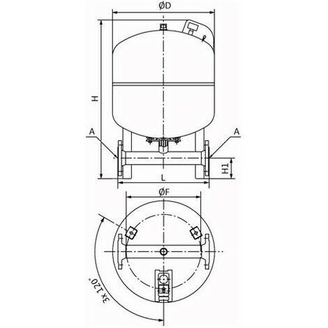 """Wilo Membrandruckbehälter DT5 Duo m Duo Anschluss PN 10 100 l-""""41051371"""""""