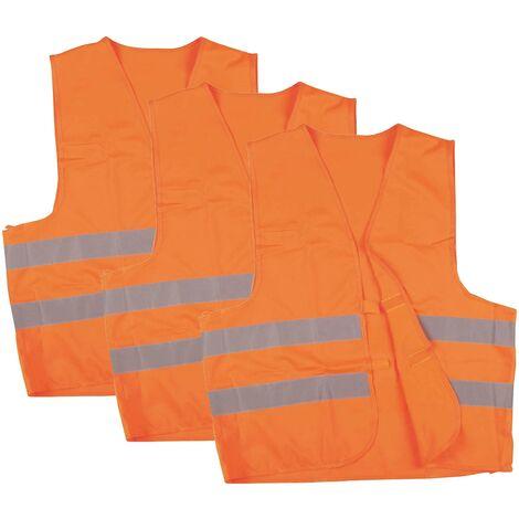 Wilpeg Warnweste, Sicherheitsweste, Pannenweste mit Reflexstreifen EN ISO 20471 - 2 Farben in S, M, L, XL, XXL, XXXL - VPE = 3 Stück