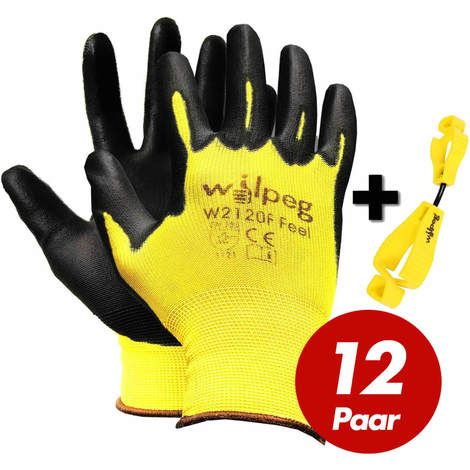 Wilpeg WILPEG 12 Paar W2120F Nylon-Strickhandschuhe PU Feel + Handschuh-Clip im Set