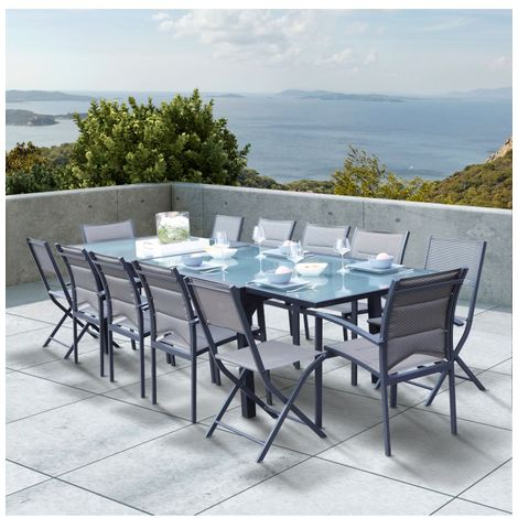 Wilsa Garden Salon de jardin Modulo 8+4 chaises gris / gris