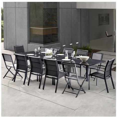 Wilsa Garden Salon de jardin Modulo 8+4 chaises noir / noir