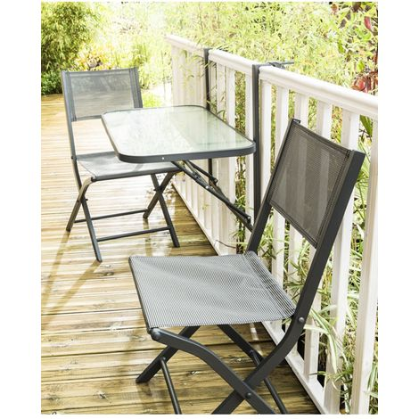 Wilsa Garden Table de balcon pliante Anthracite