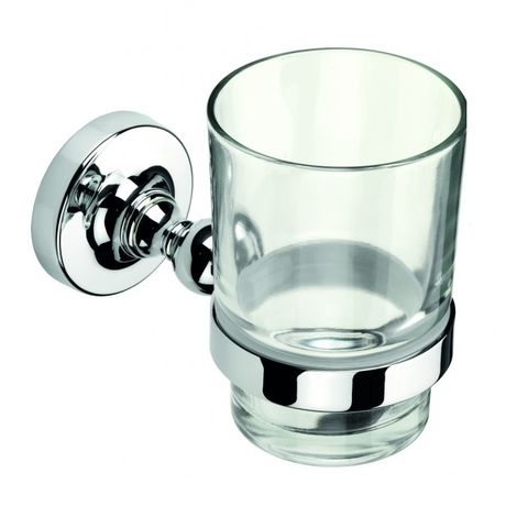 Croydex Wimbourne Bathroom Flexi-Fix Easy to Fit Tumbler and Holder Chrome