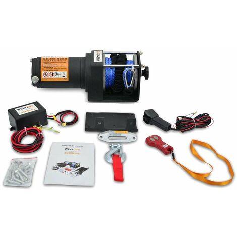 WinchPro - Cabrestante Eléctrico 12V 1360kg/3000lbs, 12m De Cuerda De Dyneema Sintética, 2 Mandos A Distancia (1 Inalámbrico, 1 Con Cable), Placa De Montaje, Ideal Para Atv, Buggies, Trailers
