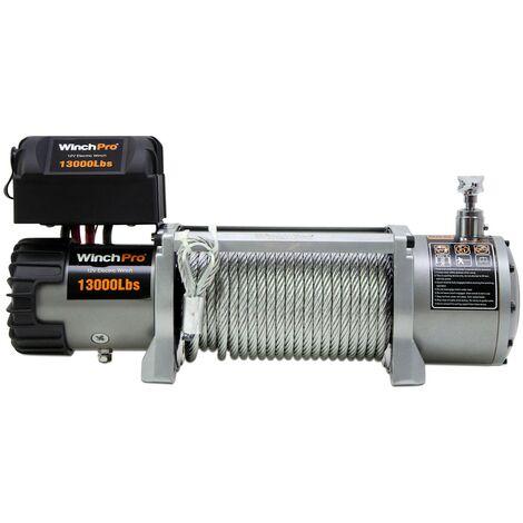 WinchPro - Cabrestante Eléctrico 12V 5900kg/13000lbs, 26m De Cuerda De Acero, 2 Mandos A Distancia Incluidos (1 Inalámbrico, 1 De Cable), Para Offroad, 4x4, Grúas