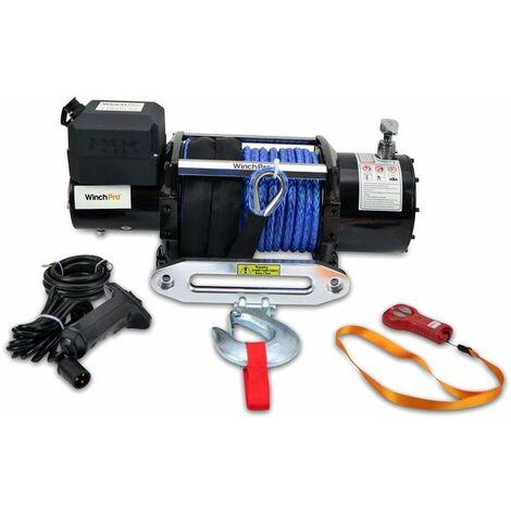 WinchPro - Cabrestante Eléctrico 12V 7700kg/17000lbs, 28m De Cuerda De Dyneema Sintética, 2 Mandos A Distancia Incluidos (1 Inalámbrico, 1 Cable), Para Todo Terreno, 4x4, Grúas