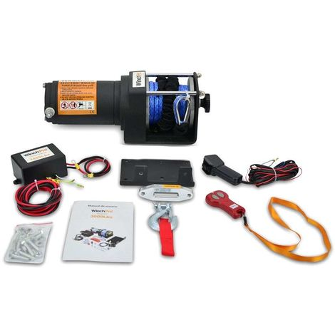WinchPro - Electric Winch 12v, 1360kg/3000lbs, 12m Synthetic Dyneema Rope, 2 Remote Controls (1 Wireless, 1 With Cable) And Mounting Plate Included, Ideal For Atv, Buggies, Trailers, Quads