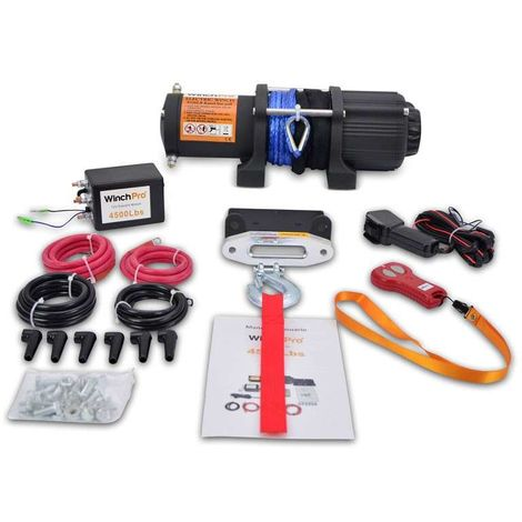 WinchPro - Electric Winch 12v, 2000kg/4500lbs, 15m Synthetic Dyneema Rope, 2 Remote Controls (1 Wireless, 1 Cable) And Mounting Plate Included, Ideal For Atv, Buggies, Trailers Quads And Boats
