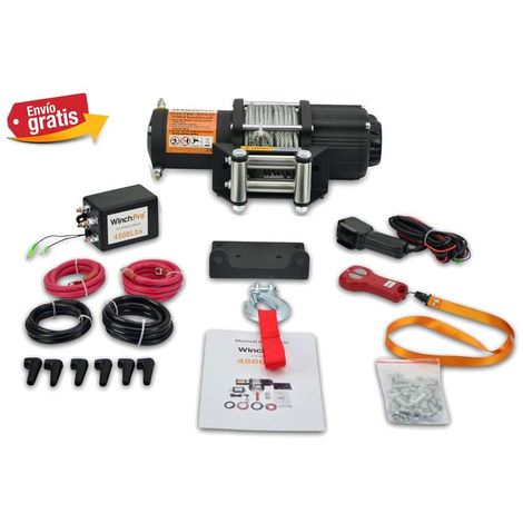 WinchPro - Electric Winch 12v, 2000kg/4500lbs Capacity, 15m Steel Rope, 2 Remote Controls (1 Wireless, 1 Cable) And Mounting Plate Included, Ideal For Atv, Buggies, Trailers Quads And Boats