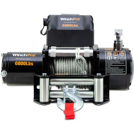 WinchPro - Electric Winch 12v, 2700kg/6000bs Capacity, 24m Steel Rope, 2 Remote Controls Included (1 Wireless, 1 Cable), Ideal For Atv, Buggies, Trailers, Quads And Boat