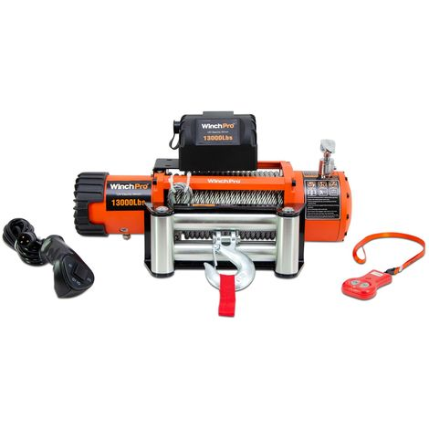 WinchPro - Electric Winch 12v, 5900kg/13000lbs Capacity, 26m Steel Rope, 2 Remote Controls Included (1 Wireless, 1 Cable), For Offroad, 4x4, Towtrucks