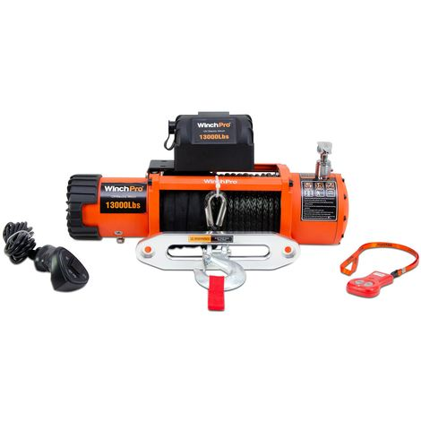 WinchPro - Electric Winch 12v, 5900kg/13000lbs Capacity, 26m Synthetic Dyneema Rope, 2 Remote Controls Included (1 Wireless, 1 Cable), For Offroad, 4x4, Towtrucks