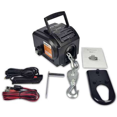 WinchPro - Electric Winch 12v, 900kg/2000lbs Capacity, 9,2m Steel Rope, Handheld Remote Control With 3m Cable Included, Ideal For Atv, Buggies, Trailers Quads And Boats