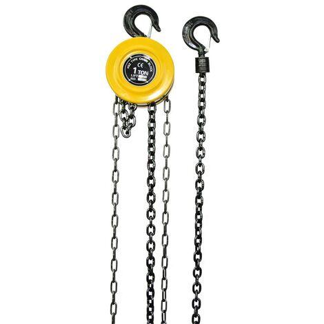 WinchPro - Polipasto Manual De Cadena 1000kg, 3 Metros De Altura De Elevación, Con Freno De Seguridad De Carga, Hecho Con Una Aleación De Acero Tratado Térmicamente