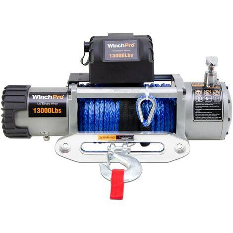 WinchPro - Treuil Électrique 12V 5900kg/13000lbs, 26m De Corde Synthétique Dyneema, 2 Télécommandes Incluses (1 Sans Fil, 1 Câble), Pour Tout-terrain, 4x4, Remorques