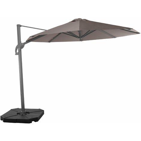 Wind-resistant 3 m cantilever parasol - Zonda, Colour: Taupe