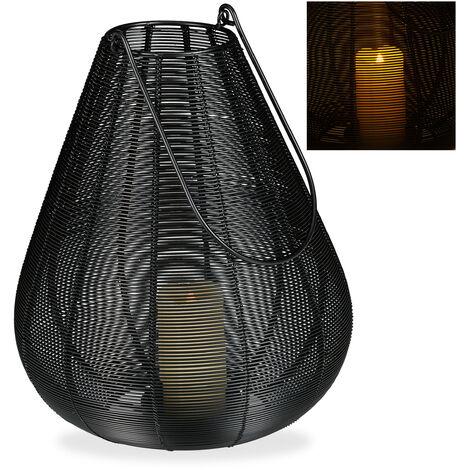 Windlicht Metall, modern, Kerzenhalter für Stumpenkerzen, Deko Laterne Draht, HBT: 31 x 27 x 27 cm, schwarz