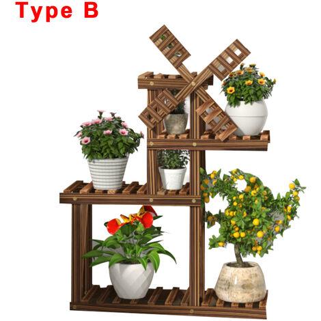 Windmill Wood Pots Plant Stand Flower Shelf Rack Garden Display Shelf