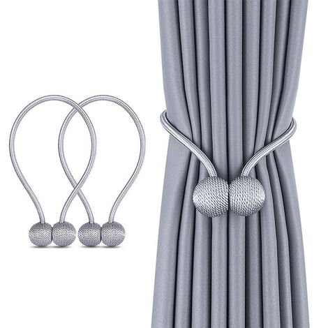 Window Curtain Tiebacks Clips Strong Magnetic Tie Tape Home Office Decorative Curtains Weave Holdbacks Brackets European Style 1 Pair, Gray