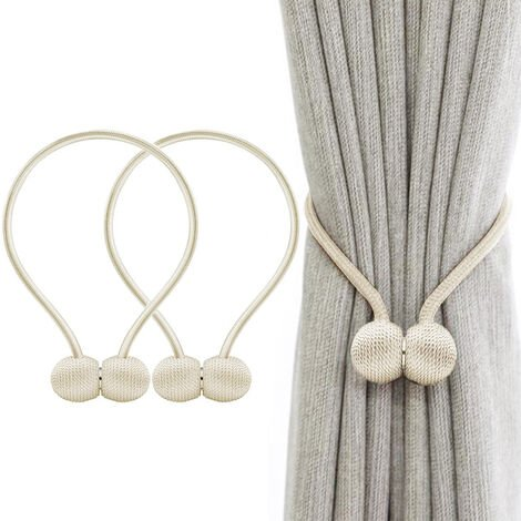 Window Curtain Tiebacks Clips Strong Magnetic Tie Tape Home Office Decorative Curtains Weave Holdbacks Holders European Style 1 Pair, Beige