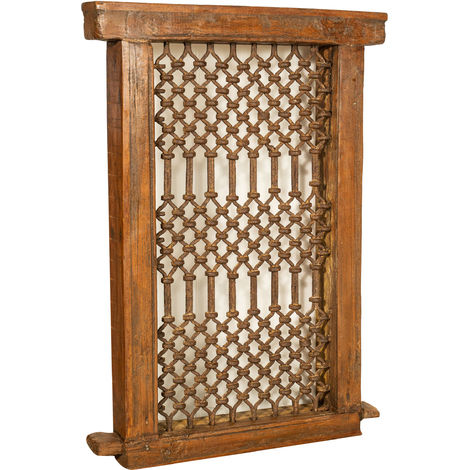 WINDOW GRAIN GRID IN IRON WITH FRAME FINELY RESTORED IN SOLID WOOD OF TEAK