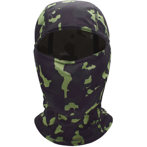 Windproof Full Face Mask Balaclava Hood Hunting Cycling Motorcycle Helmet Liner Headwear, Green Camouflage