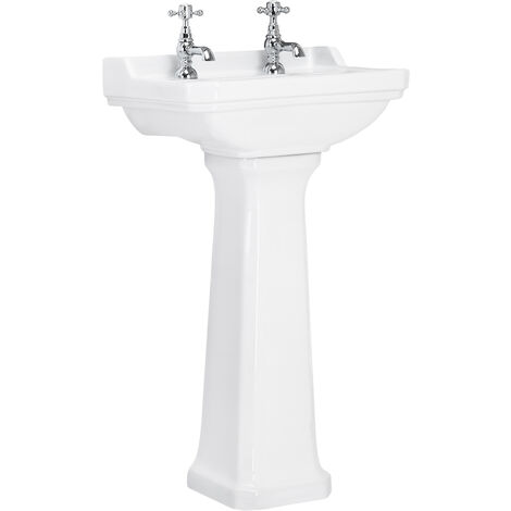 Windsor 560mm 2 Tap Hole Basin & Pedestal