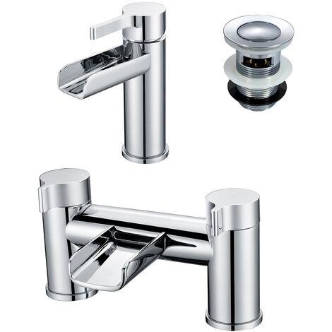 Windsor Bathroom Basin Mixer & Bath Filler Tap Chrome