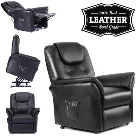 """main image of """"WINDSOR ELECTRIC RISE RECLINER REAL LEATHER ARMCHAIR - different colors available"""""""
