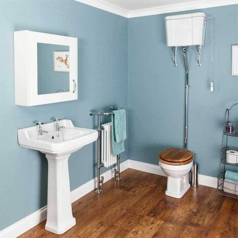 Windsor Cloakroom Suite (High Level Toilet - Oak Seat)