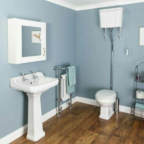 Windsor Cloakroom Suite - High Level Toilet & White Seat