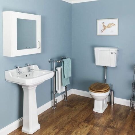 Windsor Cloakroom Suite (Low Level Toilet & Oak Seat)