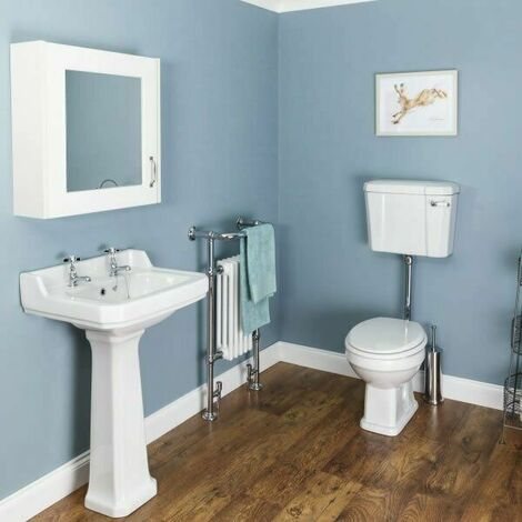 Windsor Cloakroom Suite Low Level Toilet & White Seat