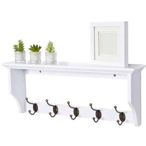 Windsor Coat Rack in White // Wall-mounted with Shelf and 5 Hooks // Space-saving Storage for Bathroom, Bedroom, Hallway