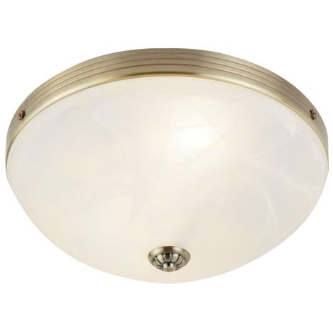 WINDSOR FLUSH 2 LIGHT ANTIQUE BRASS WITH MARBLE GLASS