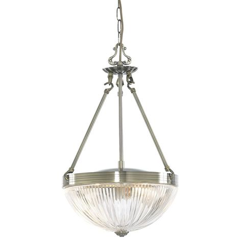 WINDSOR II 2 LIGHT ANTIQUE BRASS PENDANT-RIBBED GLASS