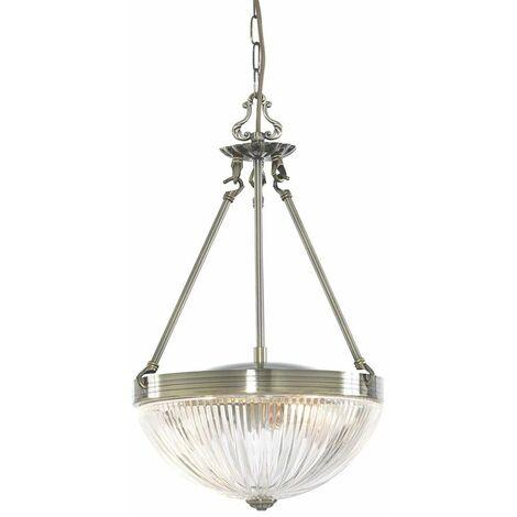 Windsor Ii, lámpara colgante de 2 llamas, latón antiguo, vidrio estriado transparente
