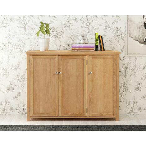 Windsor Oak Large Shoes Storage Cabinet in Light Oak Finish | 20 Pairs | Solid Wooden Cupboard / Organiser