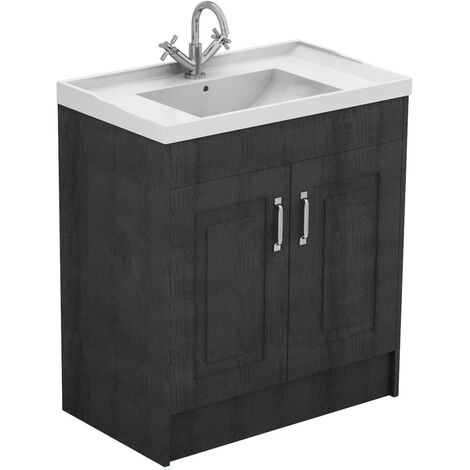 Windsor Traditional Dark Grey 800mm 2 Door Vanity Unit and Basin with 1 Tap Hole