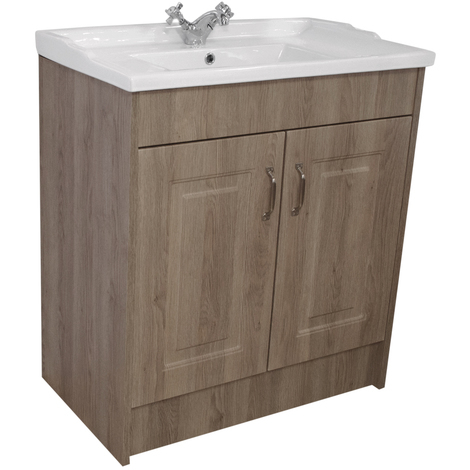 Windsor Traditional Oak 800mm 2 Door Vanity Unit with Basin with 1 Tap Hole
