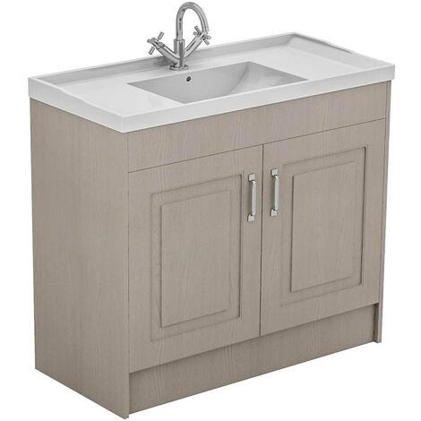 Windsor Traditional Stone Grey 1000mm 2 Door Vanity Unit and Basin with 1 Tap Hole