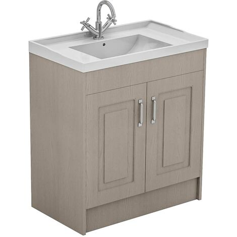 Windsor Traditional Stone Grey 800mm 2 Door Vanity Unit and Basin with 1 Tap Hole