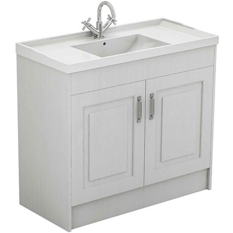 Windsor Traditional White 1000mm 2 Door Vanity Unit and Basin with 1 Tap Hole