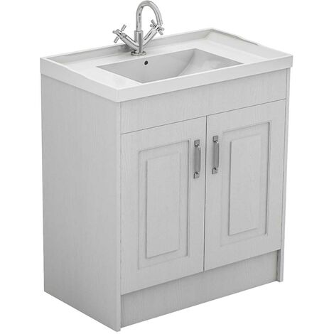 Windsor Traditional White 800mm 2 Door Vanity Unit with Basin with 1 Tap Hole