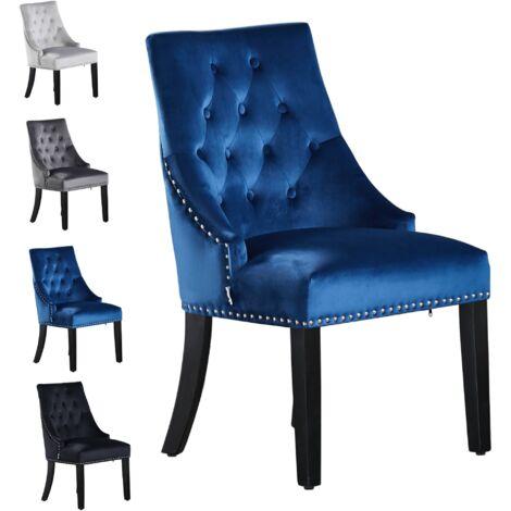 Windsor Tufted Velvet Chair   Door Knocker   Dark Blue