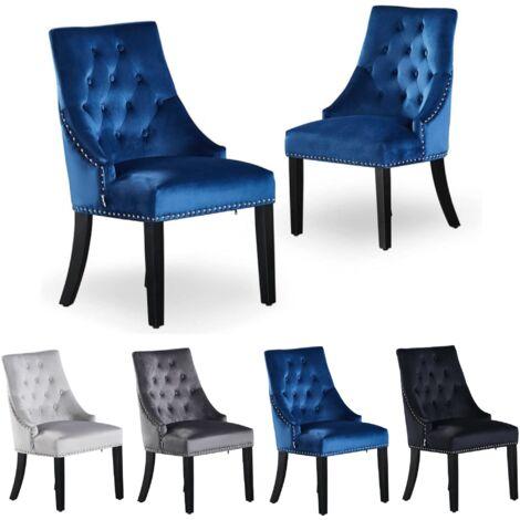 Windsor Tufted Velvet Chair   Door Knocker   Dark Blue   Set Of 2