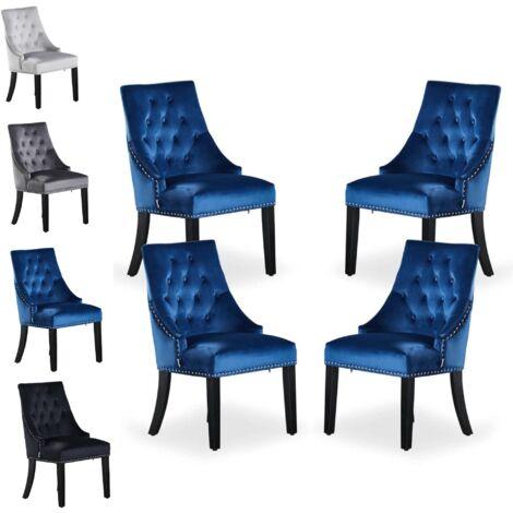 Windsor Tufted Velvet Chair   Door Knocker   Dark Blue   Set Of 4